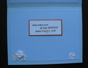 Baseball Birthday Card, inside
