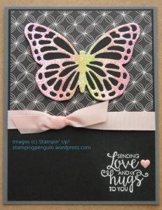 Glittery butterfly card, OnStage Nov 2017 swap